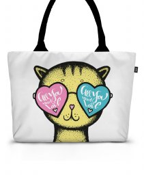 Шопер Yellow Cat glasses heart background - Valentine's Day
