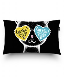 Подушка прямокутна Black Cat in glasses heart background - Valentine's Day