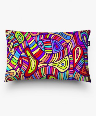 Подушка прямоугольная Rainbow color fantasy doodles ornament background.