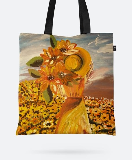Авоська Woman and sunflowers