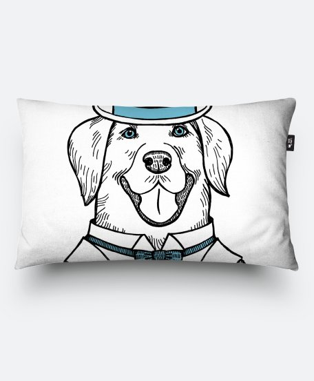 Подушка прямокутна Portrait of a Labrador retriever with a bowler hat