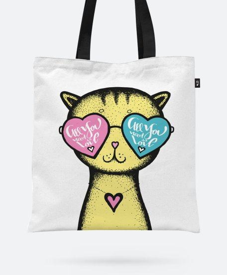 Авоська Yellow Cat glasses heart background - Valentine's Day